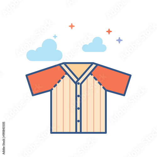 Baseball jersey icon in outlined flat color style Poster