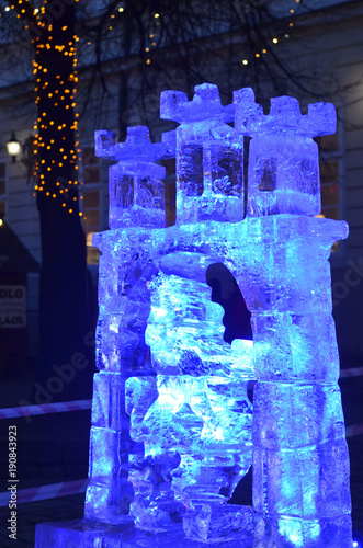 Sculptures cut out of ice. Art object.