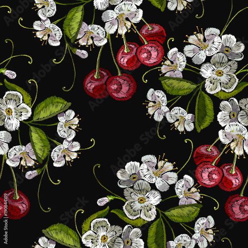 Embroidery Cherry Blossom Tree And Fruit Berry Seamless Pattern Template For Clothes Textiles T Shirt Design Vector