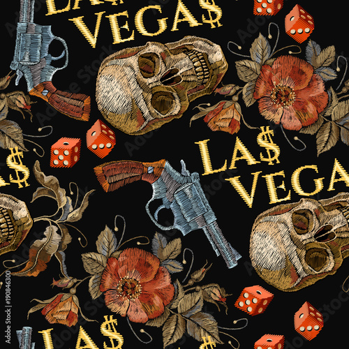 Embroidery Skulls And Guns Dice Seamless Pattern Las Vegas Slogan