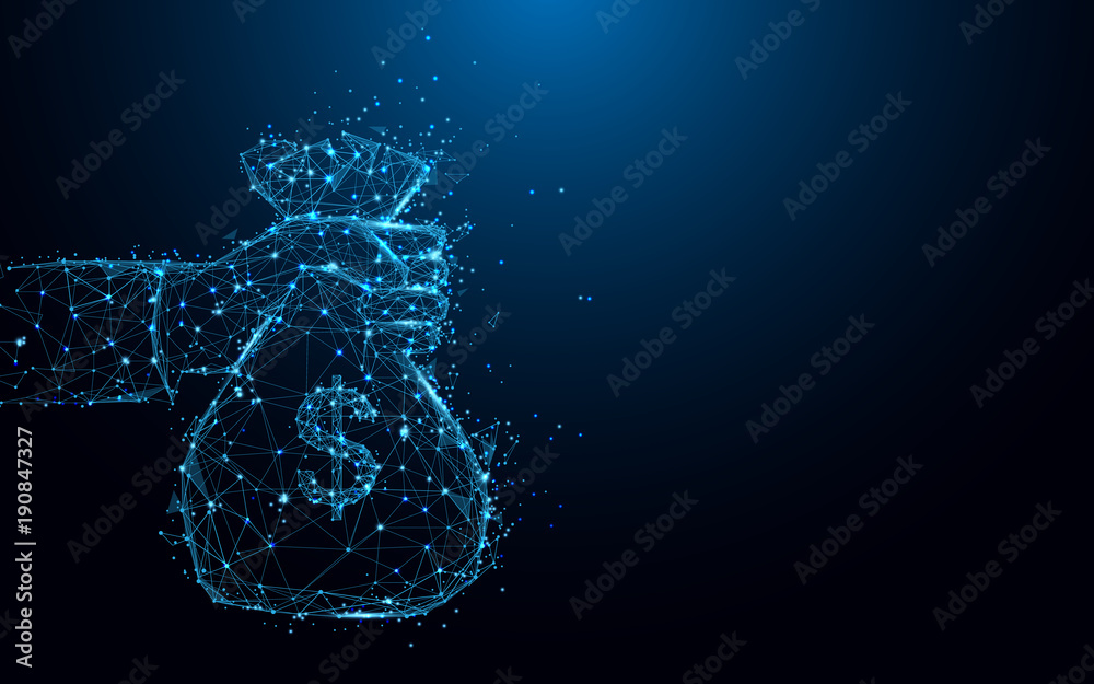 Fototapeta Abstract hand holding a money bag form lines and triangles, point connecting network on blue background. Illustration vector