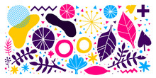 Colorful Vector Background With Hand Drawn Floral Elements. Useful For Advertising, Web Design And Printed Media.