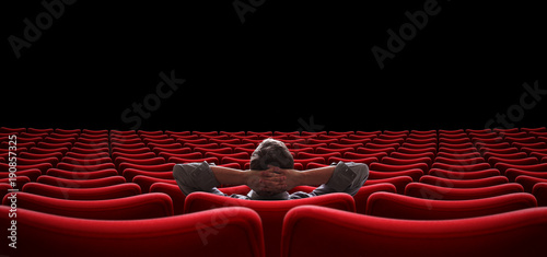 Fotografie, Obraz  empty hall with lonely man sitting 3d illustration