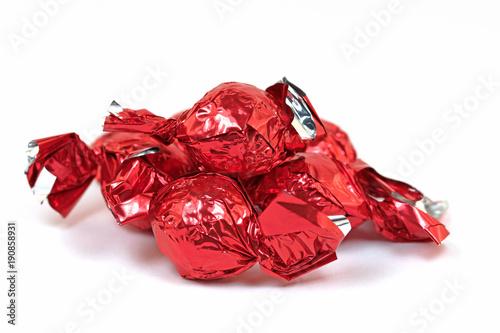 Fotobehang Snoepjes Eingepackte Bonbons, Pralinen