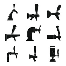 Beer Tap Icons Set. Simple Ill...