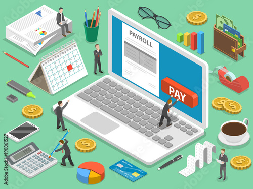 payroll flat isometric vector concept of salary payment financial