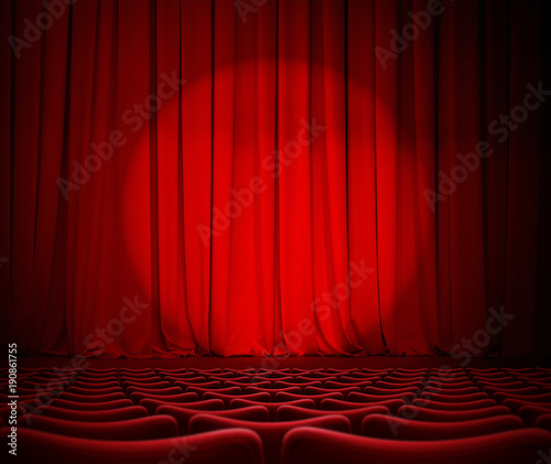 In de dag Theater theater red curtains and seats 3d illustration