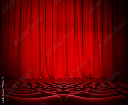 In de dag Theater theatre red curtain on stage with velvet seats 3d illustration