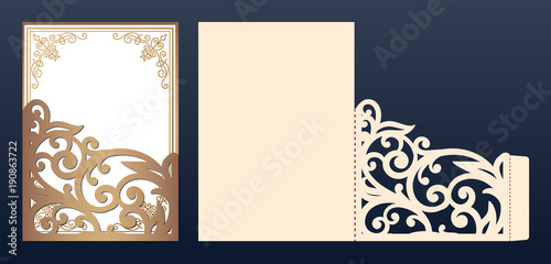 Die Laser Cut Wedding Invitation Card Template Vector