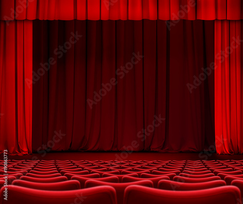 In de dag Theater red curtain on theater stage with seats 3d illustration