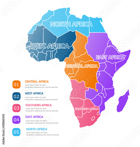 Map Of Africa Regions.Africa Regions Business Colorful Map On White Background Simple