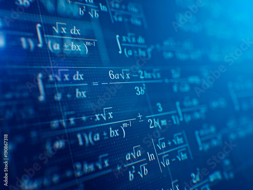 Photo Math concept - Mathematical formulas on blue background