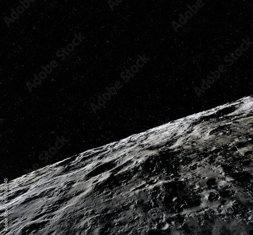 Foto op Canvas Heelal Moon surface. Realistic 3d render of moon and space. Space and planet. Satellite. Nebula. Stars. Elements of this image furnished by NASA.