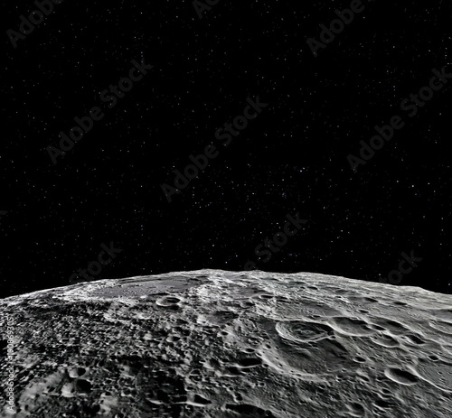 Obraz Moon surface. Realistic 3d render of moon and space. Space and planet. Satellite. Nebula. Stars. Elements of this image furnished by NASA. - fototapety do salonu