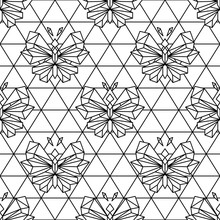 Butterfly Geometric Line Style Seamless Vector Pattern With Triangle Net Background.