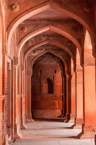 In de dag Monument Interior elements of the Red Fort in Agra, India