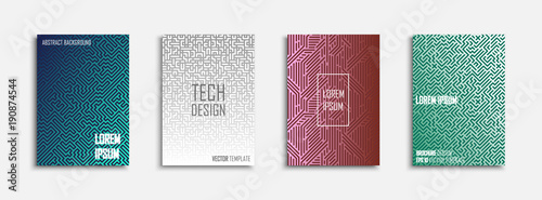 Collection of colorful striped templates - tech design. Abstract geometric posters, banners, flyers, brochures,covers and cards