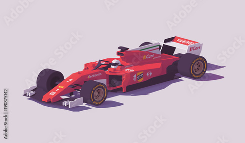 In de dag F1 Vector low poly formula racing car