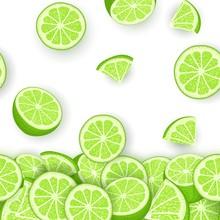 Vector Illustration Of Falling Lime Fruit. Green Lemon Vector Pattern Citrus Fruits Whole And Slice For Design Of Food Packaging Breakfast, Detox, Cosmetics Cream, Jam, Juice.