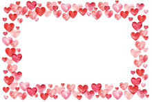 Valentines Day Background. Red Hearts Border Frame. Frame With Space For Your Text.