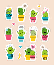 Sticker Pack With Cute Cactuses In Bright Colored Pots. Cartoon Style Emotion Icons Or Patches Or Pins.
