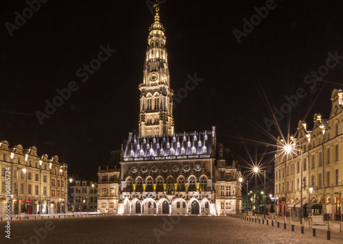 Photo The belfry and the town hall in Arras in the Pas de Calais, Hauts de France, at
