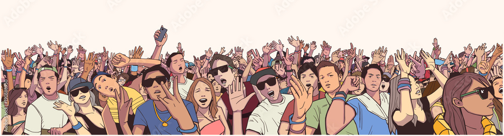Fototapety, obrazy: Stylized illustration festival crowd at live concert partying and having fun in color panorama