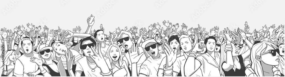 Fototapety, obrazy: Stylized illustration festival crowd at live concert partying and having fun in panorama black and white