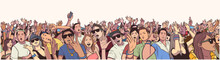 Stylized Illustration Festival Crowd At Live Concert Partying And Having Fun In Color Panorama