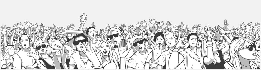 Stylized illustration festival crowd at live concert partying and having fun in panorama black and white