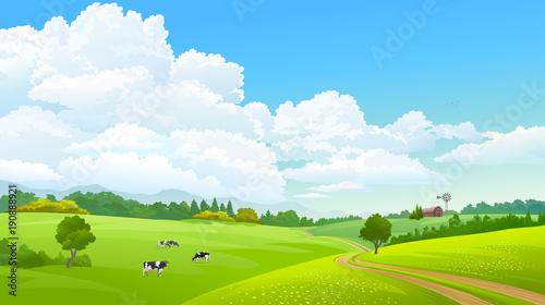 In de dag Lime groen Farm caws grazing green grass