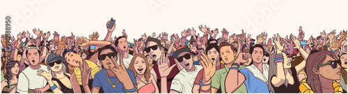 Fotografía Stylized illustration festival crowd at live concert partying and having fun in