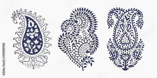 Foto auf AluDibond Boho-Stil Set of 3 paisley elements. Traditional oriental ethnic ornament of India, 2 colors. For your design.