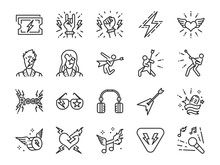 Rock And Roll Line Icon Set. I...