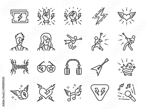 Valokuva  Rock and Roll line icon set