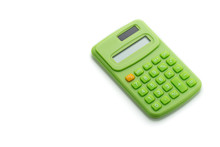 Green Calculator On A White Background