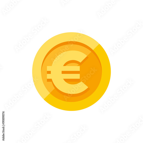 Fotomural Euro sign on gold coin flat style