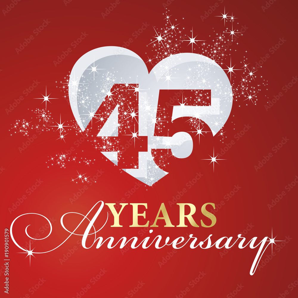 Foto  45 years anniversary firework heart red greeting card icon logo
