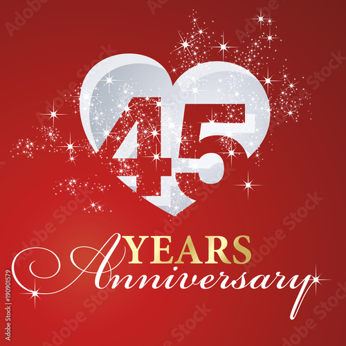 фотография  45 years anniversary firework heart red greeting card icon logo