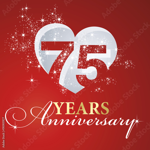 фотография  75 years anniversary firework heart red greeting card icon logo