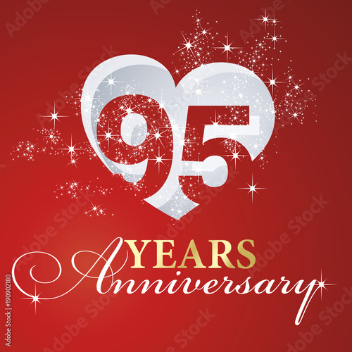 фотография  95 years anniversary firework heart red greeting card icon logo