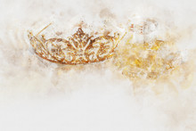 Watercolor Style And Abstract Image Of Gold Diamond Tiara.