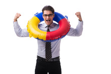 Young Businessman With Life Buoy Isolated On White Background