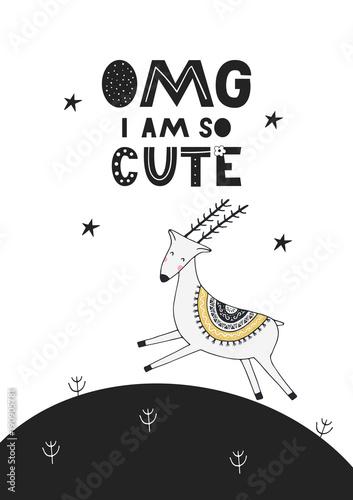 skaczacy-jelonek-i-czarny-napis-omg-i-am-so-cute
