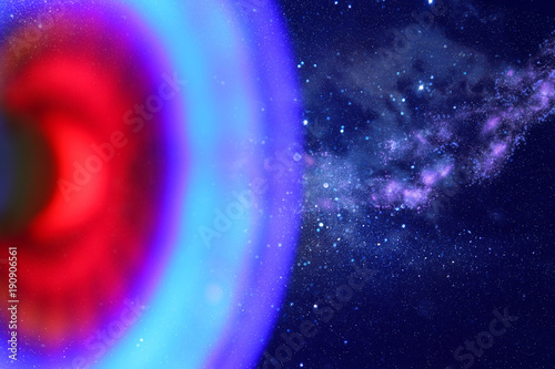 abstract image spaceship ufo in the night sky and astrology concept.