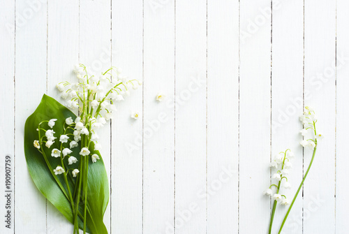 Foto auf Gartenposter Maiglöckchen Lily of the valley on white wooden