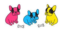 Dog Vector French Bulldog Icon Logo Bone Doodle Character Illustration Pop Art Cartoon