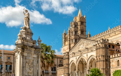 Foto auf AluDibond Palermo View of Palermo Cathedral with Santa Rosalia statue, Sicily, southern Italy