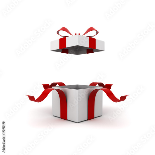 Fotografia, Obraz  Open gift box , present box with red ribbon bow isolated on white background with shadow