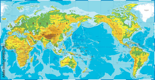 In de dag Wereldkaart Political Physical Topographic Colored World Map Pacific Centered